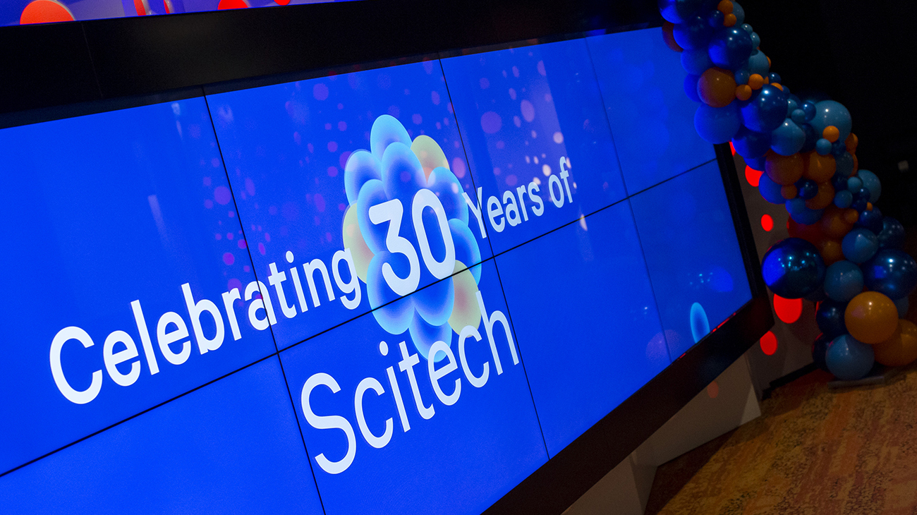 Celebrating 30 Years of Scitech. Text.