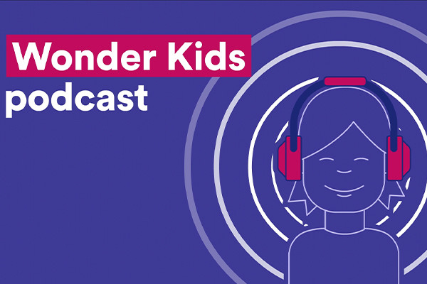 wonder kids podcast graphic, animated child listening to something through headphones.