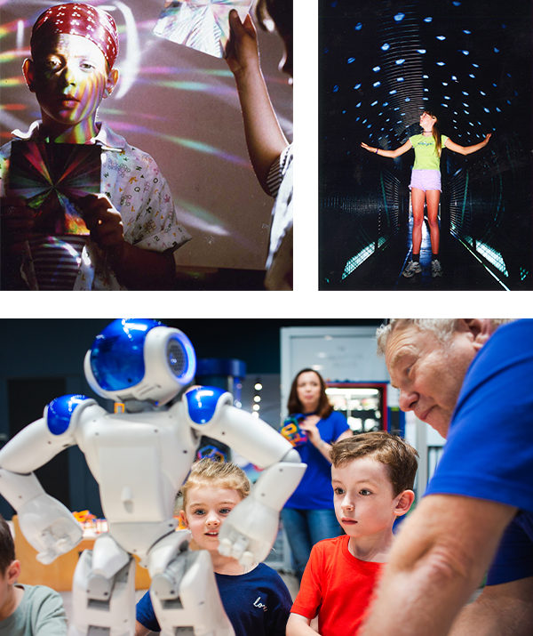 A collage of children look at robots and light objects.