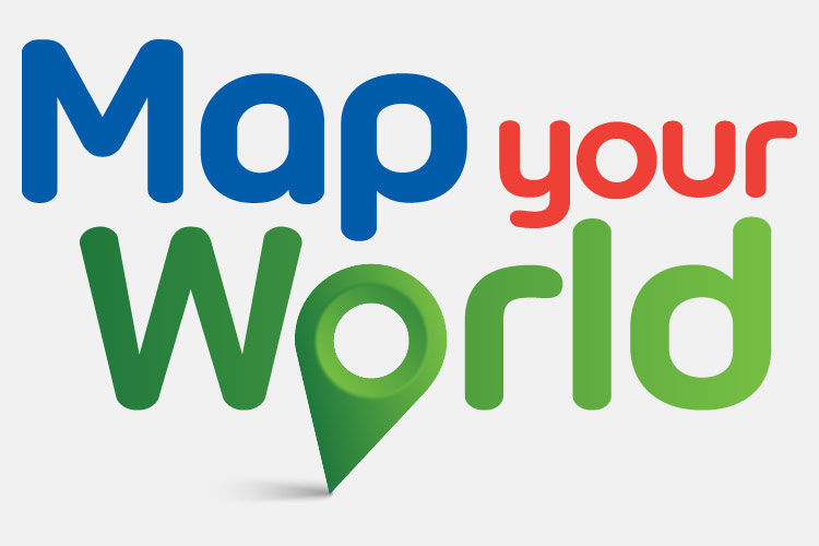 Map Your World Logo. Text.