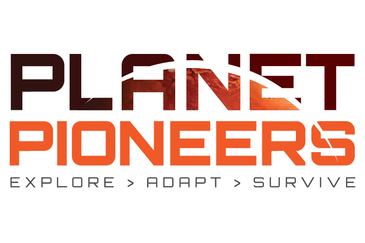 Planet Pioneers. Explore Adapt Survive. Text.