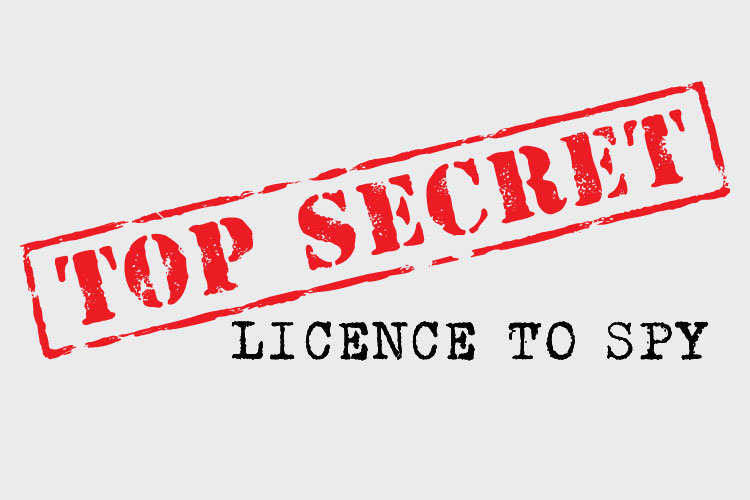 Top Secret. License to Spy. Text.