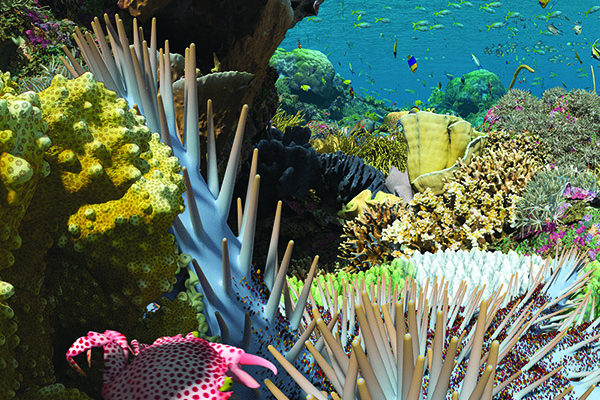 A computer simulation of a coral reef under the sea.
