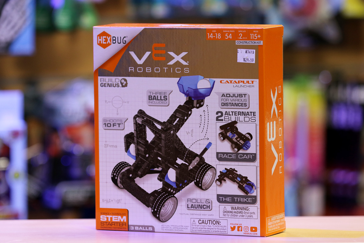 A vex robotic toy kit race car and trike from The Scitech Discovery Shop