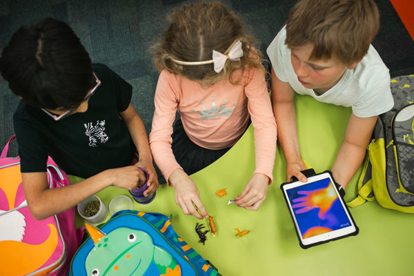 An aerial shot of three young students playing with toy animals and an iPad.