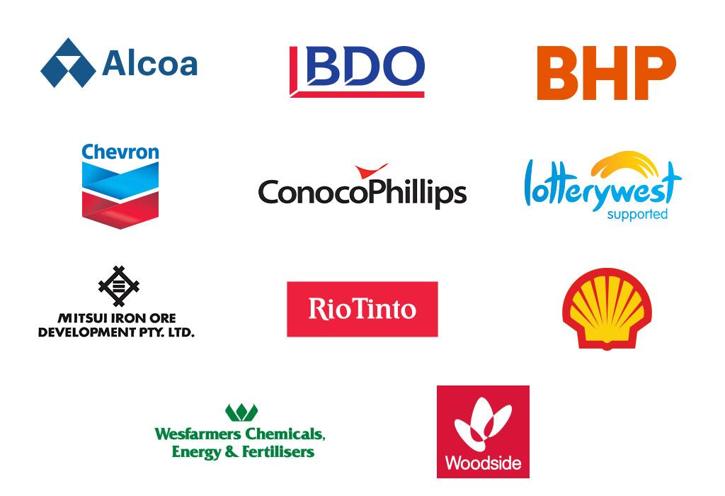 Logos of major partners. Text.