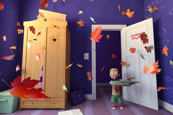 A young boy standing in a bedroom and leaves are flying all around him. Graphic.