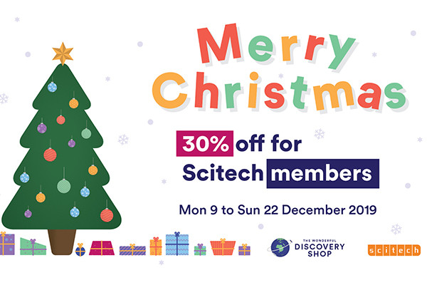 Merry Christmas, 30% off for Scitech Members. Text.