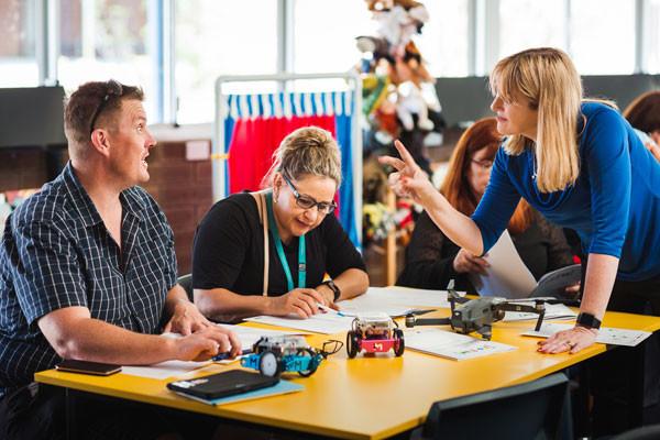 Teachers in a collaborative workshop
