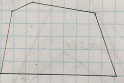 A drawing of a 5 sided polygon on lined paper.