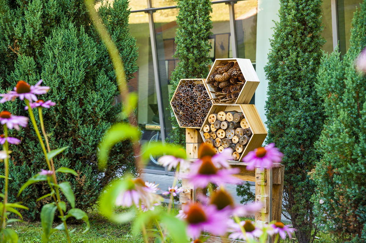 An insect hotel made up of three hexagon-shaped frames sits in a garden with pink flowers