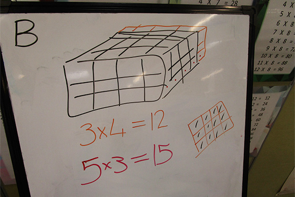 Square grid and equations on a whiteboard.
