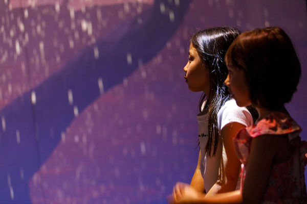 Two girls immersed in light projections exhibition