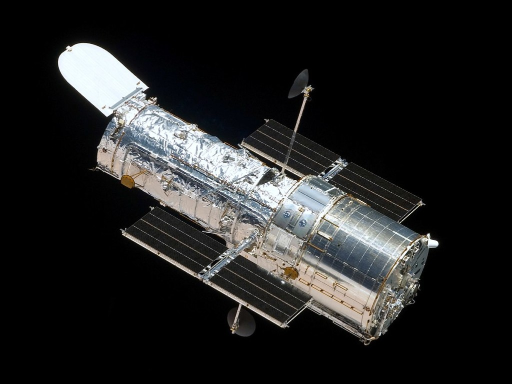 The Hubble Space Telescope floating in space