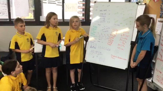 Makybe Rise Year 4 Primary School students solving maths problems as a group