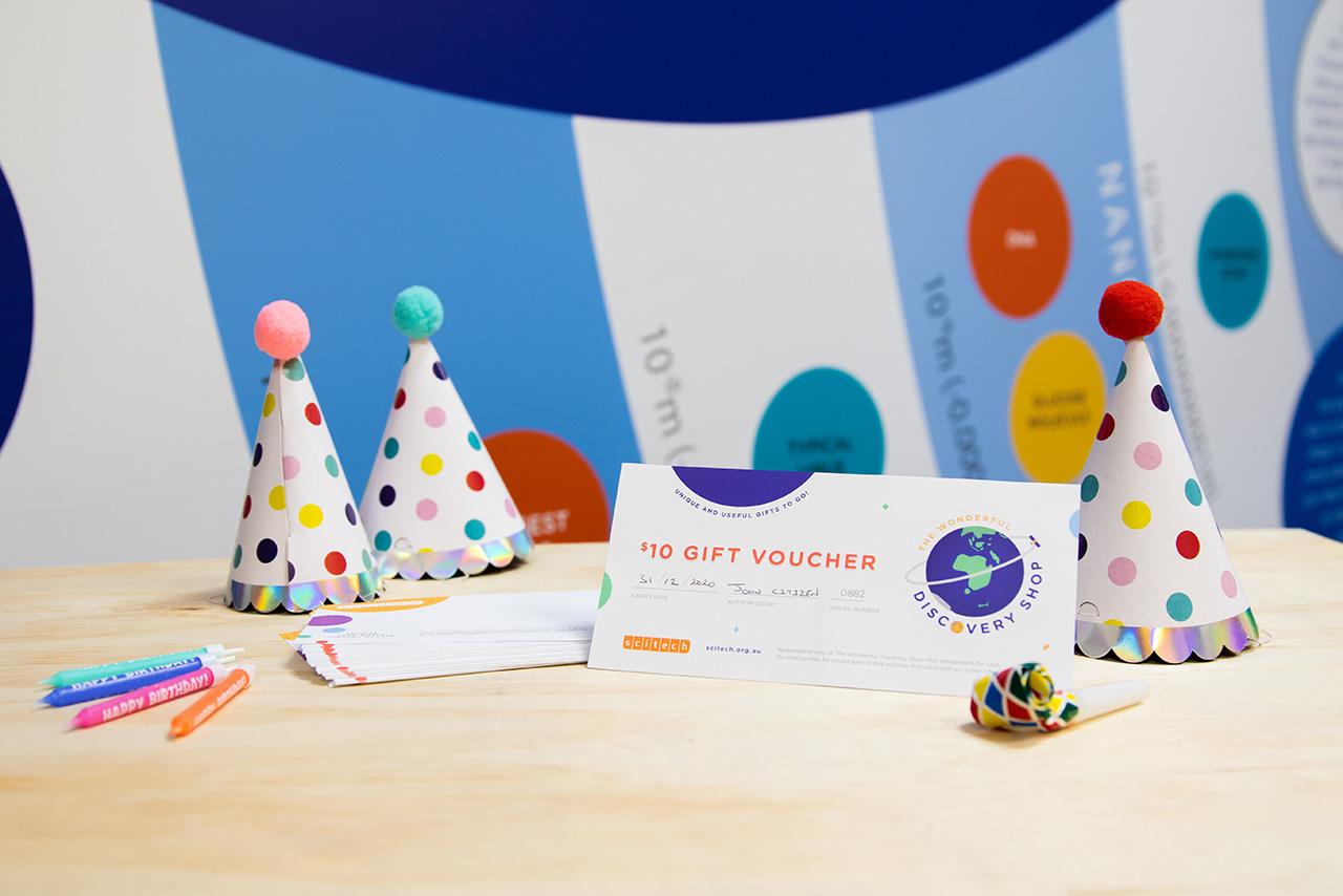 Scitech birthday party Discovery Shop gift voucher