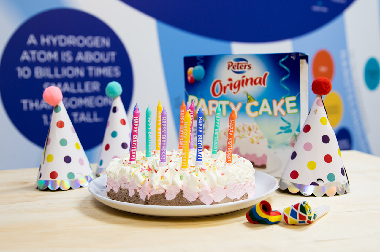 Scitech birthday party ice cream cake with coloured candles