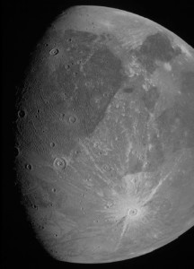 Photo of Jupiter's giant moon Ganymede taken by the Juno spacecraft during a flyby