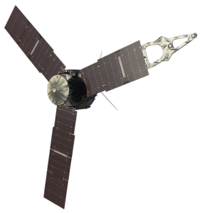 Artist's impression of the Juno spacecraft with solar panels extended.