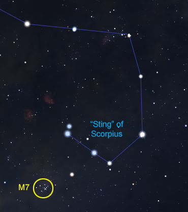 Diagram of Messier 7 under the