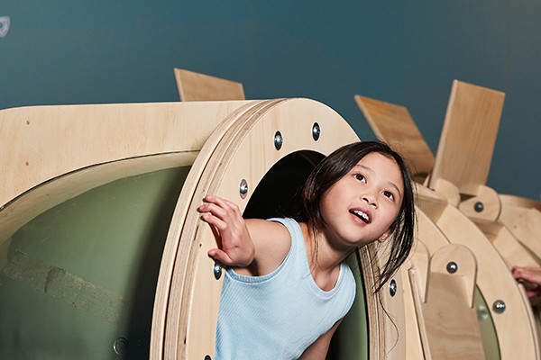 A young girl emerges from a wooden tubular crawl zone