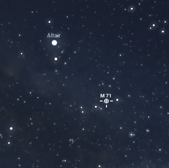 A map of the night sky showing the M71 globular cluster; to the south east of Altair